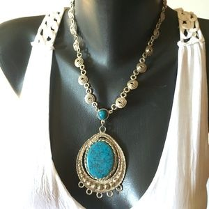 Turquoise Chunky Silver Chain Statement Necklace